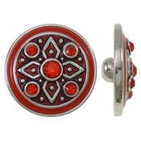 Chunk knapp metall med emalj och strass röd
