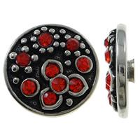 Chunk knapp metall med strass röd blommig