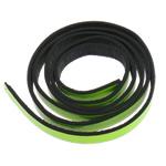 Läderrem platt 10mm neongrön med svart baksida 1m