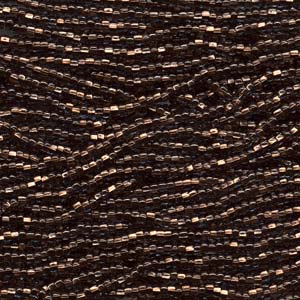 Seedbeads tjeckiska 11/0 black diamond copperlined
