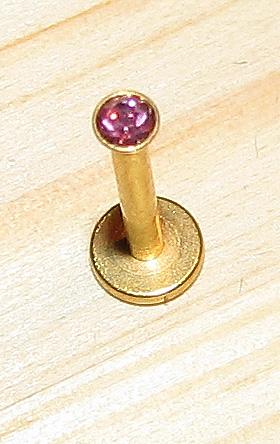 Labret guld med rosa kristall