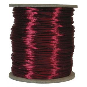 Satintråd 2mm vinröd 3 meter