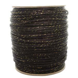 Satintråd 3mm svart med guld 3 meter