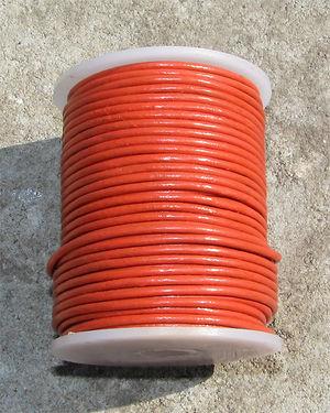 Läderrem 1mm orange 2 meter