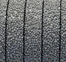 Läderrem platt 10mm caviar silver 20cm