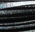 Lderrem platt 10mm silverglitter 20cm