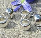 Berlockhållare / mellandelar ljus silver LITEN 5st