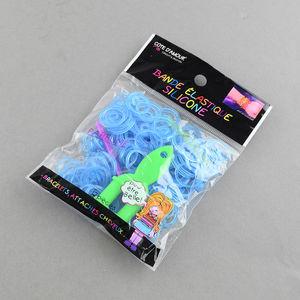 Loom gummiband + krok + ykrok ljusblå