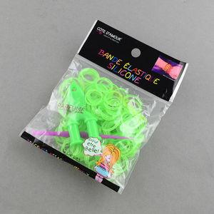 Loom gummiband + krok + ykrok limegrön