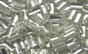 Glasstavar 4x7mm trianglar crystal silverfoil 50g *2:a-sortering*
