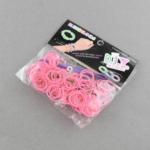 Loom gummiband + krok + ykrok rosa