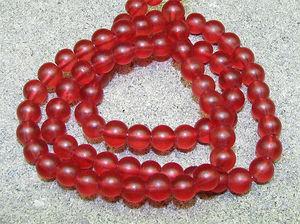Glaspärlor frostade 4mm röda