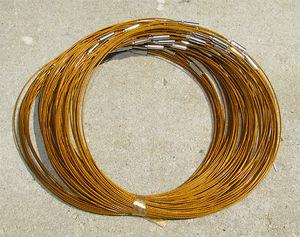 Halsband memory ljus guldbruna 3st