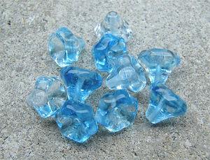 Glasblommor kjolar turkos/crystal 10-pack