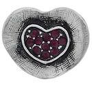 Chunk knapp metall hjärta med lila strass