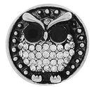 Chunk knapp metall uggla med svart/vit strass