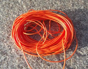 Vaxad polyestertråd 1mm orange 10m