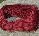 Vaxad bomullstråd 1mm mörkröd 10m