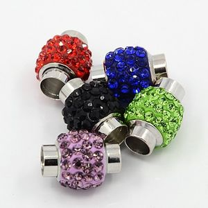 Magnetlås tub med strasspärla innermått 6mm olika färger