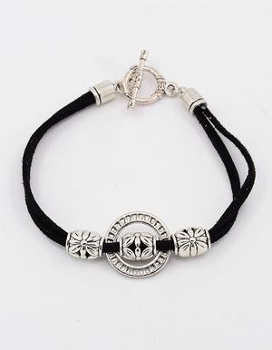 Mockaarmband med ring och togglelås svart