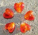 Hjärtan silverfoil 12mm tangerine