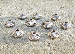 Mellandelar randiga rondeller antiksilver 10st