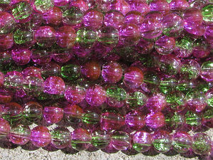 Crackle 8mm fuchsia/grön