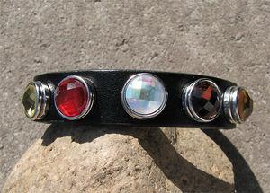Chunk set läderarmband 16mm svart med 5 facettknappar