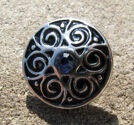 Chunk knapp metall med strass blå