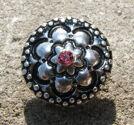 Chunk knapp metall med strass rosa blomma