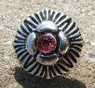 Chunk knapp metall med strass rosa fyrflikig blomma