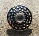 Chunk knapp metall med strass vit prickar