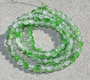 Crackle 8mm crystal/grön