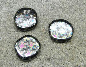 Coins 20mm exklusiv dichroiska blommor 3st