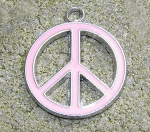 Berlock emalj fredsmärke rosa