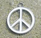 Berlock emalj fredsmärke vitt