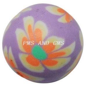 Fimopärla 12mm lila med orange blommor 5st