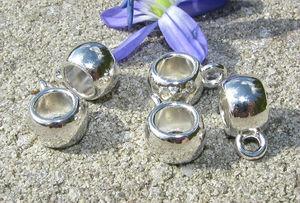 Berlockhållare / mellandelar ljus silver 5st