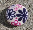 Snäckskalscoin vit blommig 30mm