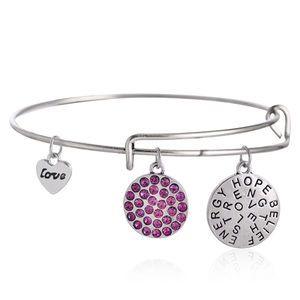 Bangle armband rosa strass med berlocker