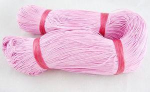 Vaxad bomullstråd 1mm rosa 10m