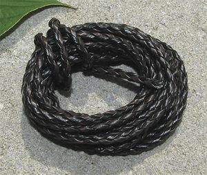 Rem flätad tvåfärgad svart/brun 3mm